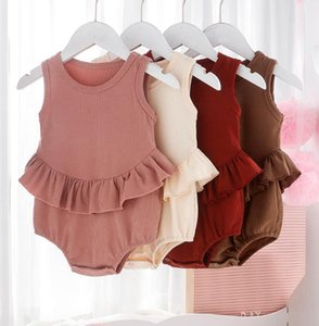 Baby Girls Clothes Ruffled Infant Girl Rompers Sleeveless Newborn Jumpsuits Solid Baby Underwear Kids Boutique Clothing 4 Colors DW5399