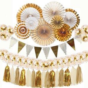 Party Decorations Paper Fan Tassel Aluminum Foil Gold Confetti Balloons Set Baby Shower Wedding Christmas Decoration DIY Decor