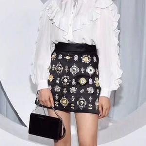 patchwork luxo cristal cintura alta strass beading gem 2019 mulheres novo estilo real de uma linha de saia curta plus size S M L XL