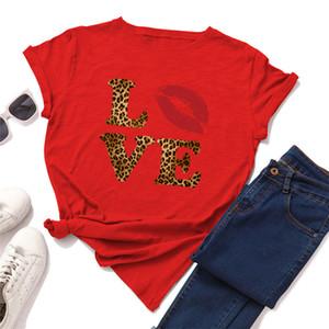 Leopard-Frauen-T-Shirts-Buchstaben Liebe Sommer Frau T-Shirts Casual Kurzarm Oansatz Designer Lose Damen Tops