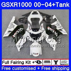 +Бак для SUZUKI GSX R1000 GSXR1000 2000 2001 2002 2003 2004 White west hot 299HM.33 GSXR-1000 K2 GSX-R1000 K3 GSXR 1000 01 02 03 04 обтекатель