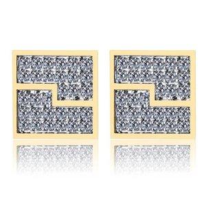 Mens Hip Hop Stud Earrings Jewelry New Fashion Gold Silver Zircon Diamond Square Earrings For Men