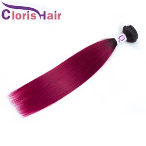 Dark Roots Burgundy Raw Virgin Indian Hair Weave Colored Straight 3 Bundles 1B Red Ombre Hair Extensions Deals Two Tone Human Hair Weaving