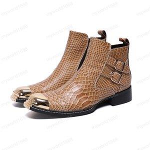 British Style Large Size vera pelle Lace Up Stivali Bianco partito convenzionale Boots metallo Toe Wedding Uomo Boots