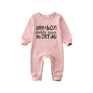0-24М новорожденных Baby Girl Одежда Romper комбинезон Эпикировка Хлопок Письмо Печать Baby Girl ползунки осень зима