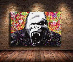 Colorful Gorilla Animal,HD Canvas Printing New Home Decoration Art Painting (Unframed Framed)
