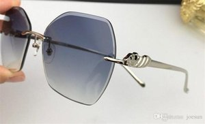 New fashion women sunglasses 08098 Cutting lens charming cat eye frameless diamond avant-garde design style top quality uv protection