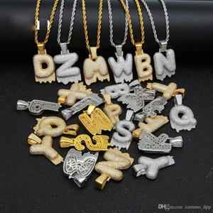 Hip Hop Bubble Drip Initials Letters Necklace Bling Cubic Zircon Cz Drop Alphabet Pendant Twisted Rope Chain For Men Women Jewelry Gift