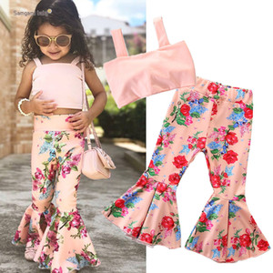 Baby Girls Floral Outfits 2019 New Summer INS Bambini Bow Sling Top + Flower Flare Pants 2pcs Set Abbigliamento moda per bambini