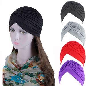 Bandanas Frauen Stretchy Turban Muslim Hat Stirnband Warp Weibliche Chemo Hijab geknotete Indian Cap Adult-Kopf-Verpackung für Frauen