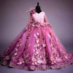 Vestido de niña vestido de manga larga de la flor de la fiesta de la princesa de las flores 3D fucsia vestido de bola de lujo de la boda de la muchacha formal vestidos del desfile