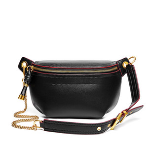 Натуральная кожа черный Fanny Pack для женщин Мода женщин сумка талии Trend Solid Color Chest Сумка Карманный Пояс Сак Banane