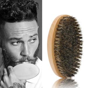 Brocha para barba para hombres Barba peine para hombre Jabalí Cerda del pelo Duro Redondo Mango de madera Barba Bigote