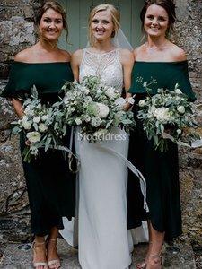 Les dernières robes de demoiselle d'épaule Off Modern Country style élégant longueur cheville Invité de mariage robe élégante Pucelle pas cher d'honneur robe personnalisée