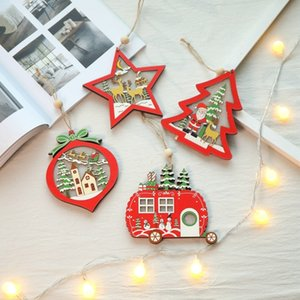 الإبداعية عيد الميلاد الحلي الجوف خشبية قلادة الإبداعية المضاء الحلي السيارات جوفاء الديكور الحلي الإبداعية خشبية SH190918