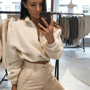 Womens Jacket Autumn Winter Long Sleeve Zipper High Neck Faux Lambswool Crop Tops 2019 Female Fashion Solid Coat Jacket Dropship