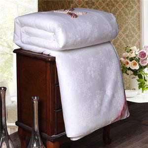 Super Soft Warm Spring Summer Comforter Natural Mulberry Silk Jacquard Quilt Home Blanket Single Double Size Comforters