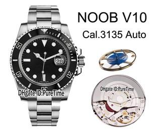2019 N V10 SA3135 ETA A2836 Cerâmica automáticas moldura Black Dial 904L Aço Mens Watch Melhor Edição azul espiral Puretime Relógios NV10C3.
