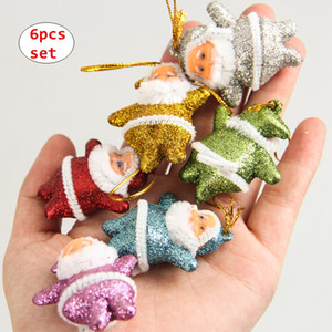 3cm Father Christmas pendent ornament Shiny Holiday New Year decoration Christmas Tree hanging Gifts 6PCS Set
