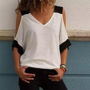 Remiendo de las mujeres del verano Cold Shoulder tapas de la camiseta de poliéster mujeres de la camiseta con cuello en V camisetas Femenina más el tamaño 5XL