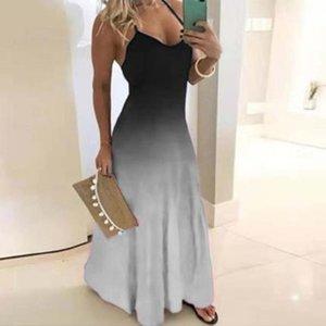 2019 국경 간 가을 새로운 유럽과 미국의 드레스 슬림 슬리밍 그라데이션 인쇄 걸레 롱 드레스