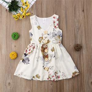 INS Bebê meninas vestido de Princesa vestido de verão sem mangas tanque vestidos da criança saia botão floral decor kids party wear presentes de aniversário