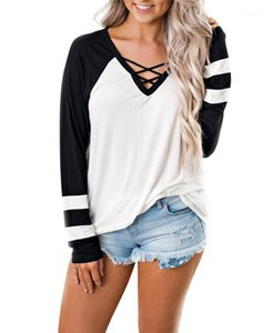 Frauen-T-Shirts beiläufige Damen dünne Oberseiten mit Band Frühling reiner Farben-weiblichen T-Shirts Mode Panelled mit V-Ausschnitt