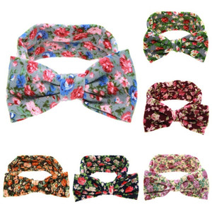 hot European and American Broken flowers big Bow headband lovely children's headband Baby hair band 6 colors Party Favor T2C5249