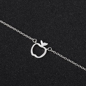 Hollow Outline Funny Geometric Fruit Apple Charm Chain Bracelets for School Mentor Teacher Women Graduation Gifts