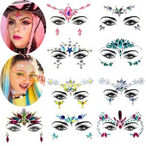 Festival visage de Tatouage strass cristal Gemmes temporaire autocollant tribal style corps 3D visage et les yeux Bijoux de scène Décor Forehead