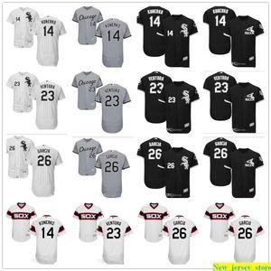 Özel Erkek Kadın Gençlik 2019 Majestic Beyzbol Jersey 23 Robin Ventura 14 Paul Konerko 26 Avisail Garcia Ev Siyah Çocuk Formalar dikişli