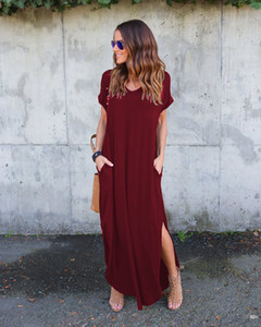 2019 kadın yaz casual maxi dress gevşek cep uzun dress kısa kollu bölünmüş maxi elbiseler düz casual temel midi dress