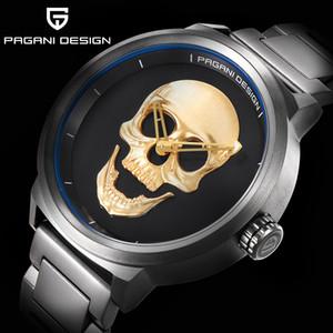 30m impermeable reloj personalidad del cráneo del punk 3D retro de los hombres de moda de acero inoxidable reloj de cuarzo PAGANI DISEÑO Relogio Masculino