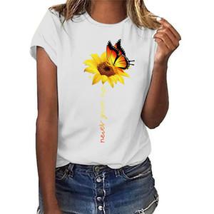 Ayçiçeği Ve Kelebek Baskı Bayan Casual Tişörtleri Moda Taze Tatlı Kısa Kollu Tasarımcı Bayan Yaz Giysileri