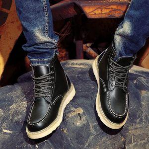 Venda quente-Bota De Couro Inverno Ankle Boots Quentes Retro Motocycle Cowboy Exército Moda Masculina Segurança no Trabalho Resistindo Ao Desgaste Sapato Casual