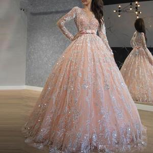 2020 Sparkly Rosa Quinceanera Vestidos Lantejoula Bola Lace Vestido Prom Vestidos Jewel Neck manga comprida doce 16 Vestido Longo Traje a Rigor Formal
