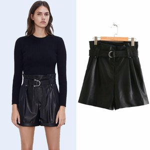 Spring 2020 Faux Leather Casual Shorts High Waist Rolled Hem Pockets Front Zip Closure with Free Belt Shorts