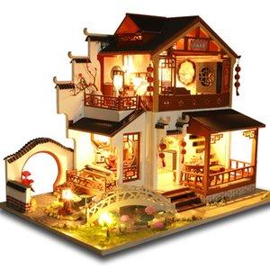 Cutebee Kinder Spielzeug Puppenhaus Möbel zusammenbauen Holz Miniatur-Puppenhaus Diy Puppen Puzzle Lernspielzeug für Kinder P3 Y200704