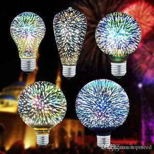 Sıcak 3D Yıldız Led Ampul E27 Renkli Havai Fişek Edison Ampul A60 ST64 G80 G95 G125 Yenilik Lambası Retro Filament Işık