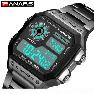 PANARS Fitness Sport Watch Men Digital Wrist Watch for Mens Dual Time Chronograph Clock 12 24 Hours Stainless Steel Watches 8113