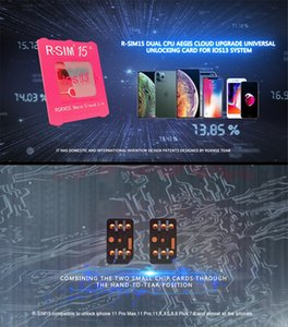 R-Upgraded SIM15 RSIM 15 double Nano Débloquer carte iOS13 pour l'iPhone 11 Pro X Max 8 7 6