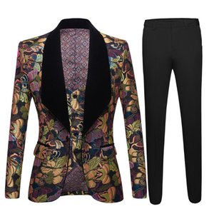 2020 Floral Men Suits For Wedding Latest Designs Groom Tuxedos Black Velvet Shawl Lapel Suit For Men Groomsmen Best Man Blazer