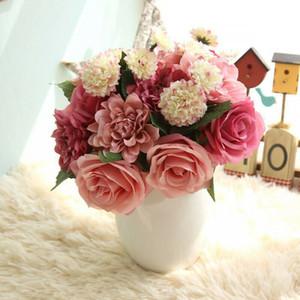 Rose Flor Dahlia Wedding Bridal Bouquet folhas de plantas Home Office Decoração I1
