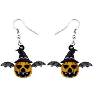 Acrilico gioielli novità di Halloween Pumpkin Bat Orecchini ciondolano Cute Anime del partito per all'ingrosso delle donne ragazze adolescenti regalo