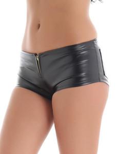 iEFiEL moda de las mujeres atractivas del club nocturno Danza Pantalones cortos brillante imitación de la patente PU cuero delgado corto Hot Dance Clubwear mini shorts 2020