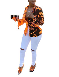 Organge e preto Carta emendado Impresso Mulheres Shirts lapela Neck mangas compridas Sexy Lady blusa Tops para Nightclub real Pictures Outono Newe