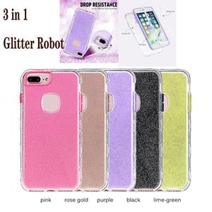 3 en 1 Bling Glitter cas de téléphone pour iphone 6 7 8 plus iphone x xr xs max Soft Silicon Armor Robot effacer cas de téléphone