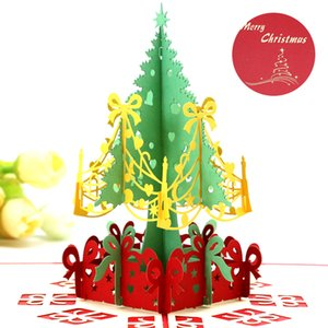 3D Рождественская елка Поздравительная открытка Трехмерная выдалбливающая Руководство Мультфильм Поздравительные открытки Популярная упаковка Opp 5 2xd J1
