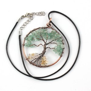 10 Pcs Copper Plated Wire Wrap Tree of Life Green Aventurine Pendant Rope Chain Necklace Carnelian Jewelr