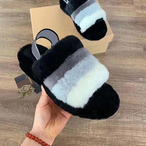 2021 La alta calidad de tendencia solo Producto deslizadores de las sandalias de terciopelo diseño del interruptor En Casual Zapatillas Botas y cómodo de imagen filmados real